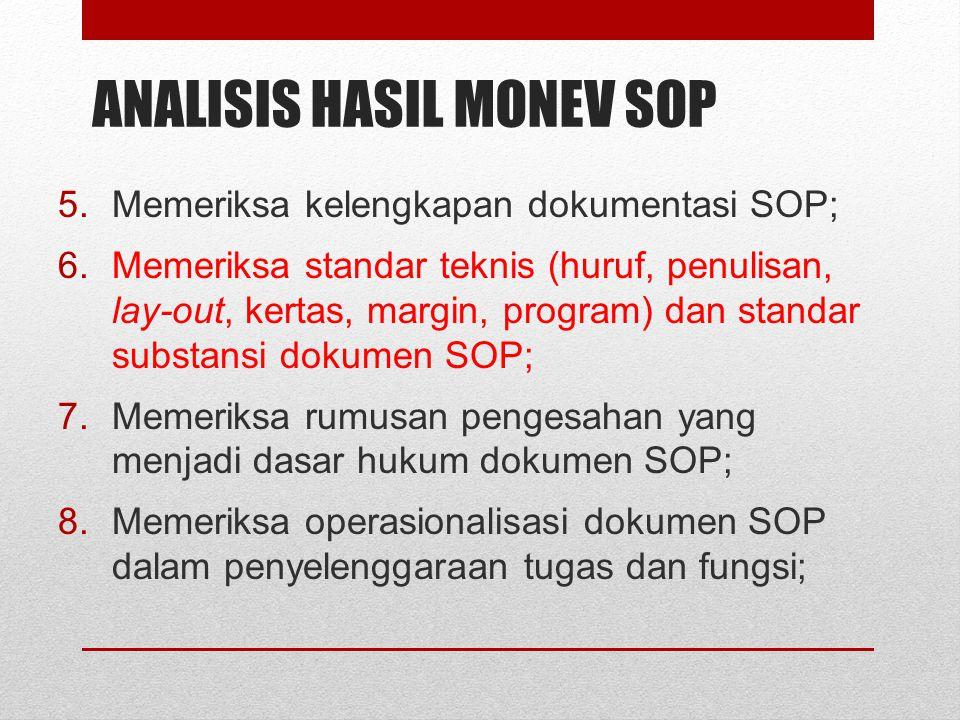 ANALISIS HASIL MONEV SOP 5.Memeriksa kelengkapan dokumentasi SOP; 6.Memeriksa standar teknis (huruf, penulisan, lay-out, kertas, margin, program) dan
