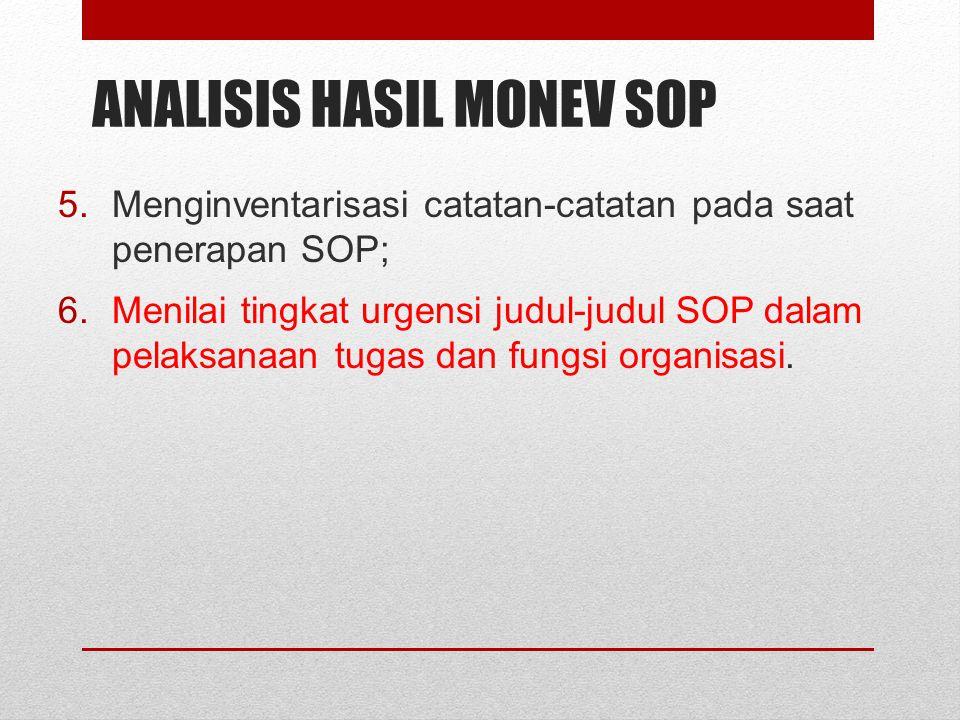 ANALISIS HASIL MONEV SOP 5.Menginventarisasi catatan-catatan pada saat penerapan SOP; 6.Menilai tingkat urgensi judul-judul SOP dalam pelaksanaan tuga