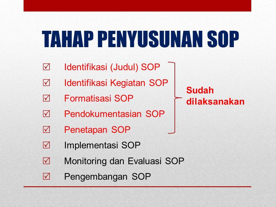 TAHAP IMPLEMENTASI SOP  Pembentukan Tim SOP Instansi (Kementerian) dan Tim SOP Unit Kerja;  Operasionalisasi Dokumen SOP;  Internalisasi SOP kepada Pelaksana SOP dan Sosialisasi SOP Pelayanan kepada Stakeholders terkait;  Penerapan SOP dalam pelaksanaan tugas dan fungsi Unit Kerja/Sub Unit Kerja dan Individu;  Monitoring dan Evaluasi penerapan SOP oleh Tim SOP.