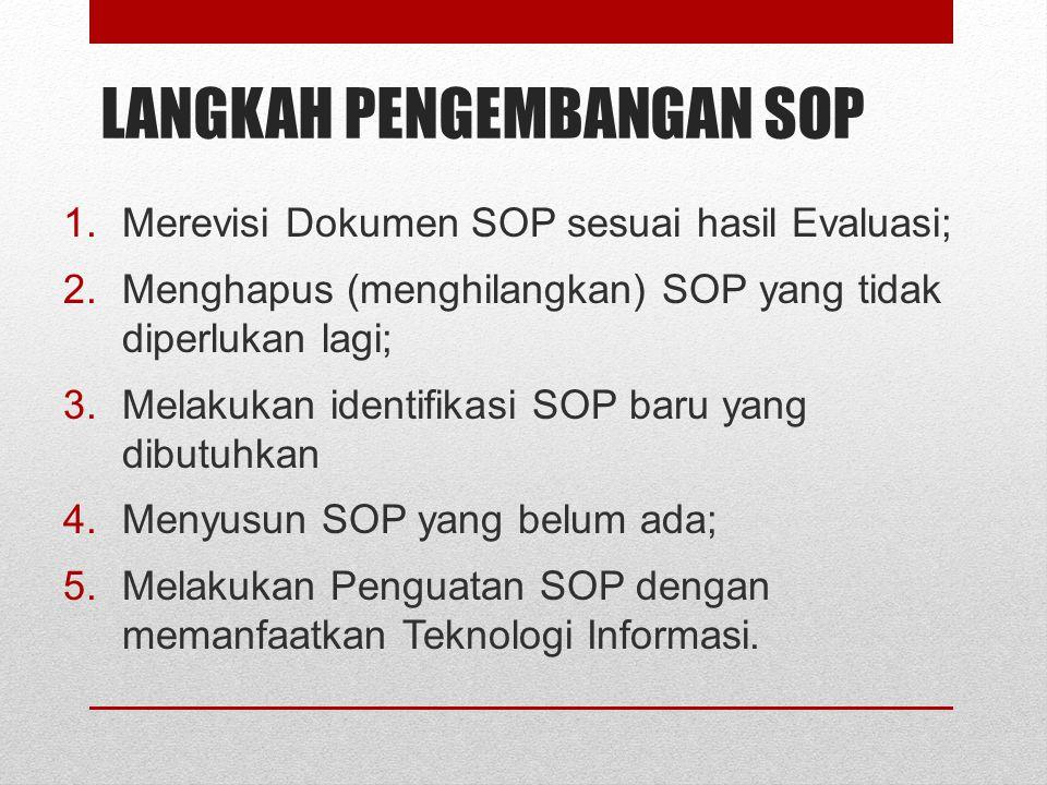 LANGKAH PENGEMBANGAN SOP 1.Merevisi Dokumen SOP sesuai hasil Evaluasi; 2.Menghapus (menghilangkan) SOP yang tidak diperlukan lagi; 3.Melakukan identif