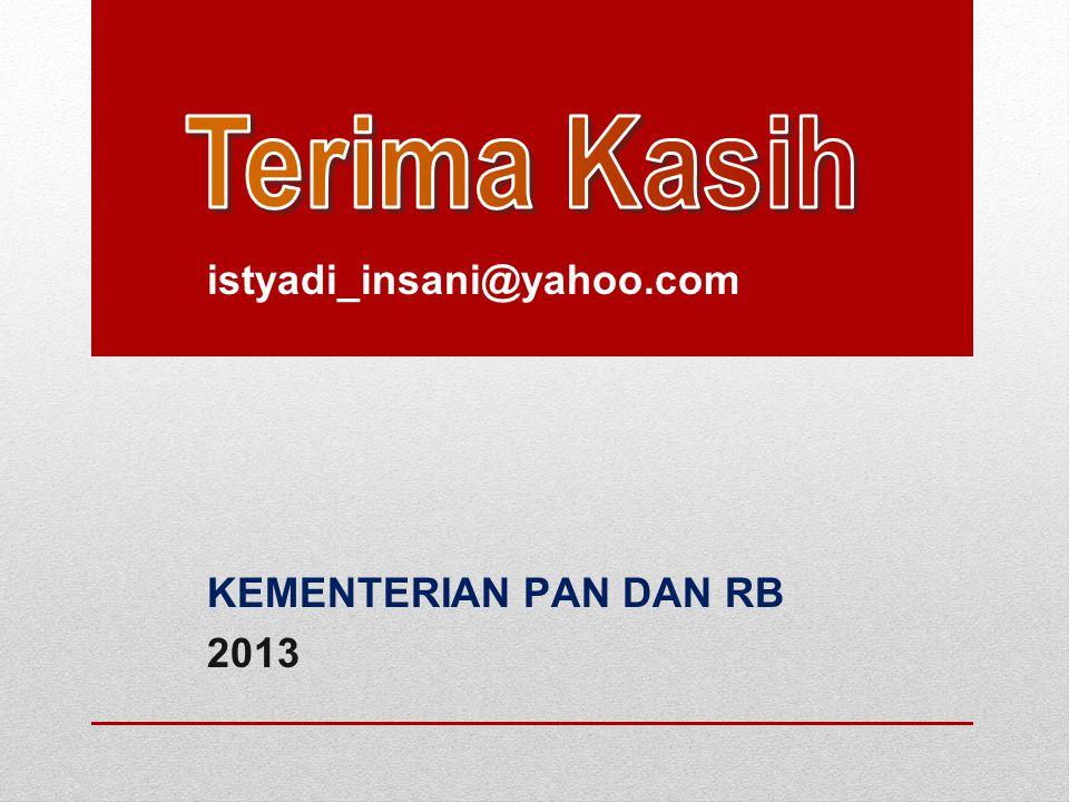 istyadi_insani@yahoo.com KEMENTERIAN PAN DAN RB 2013