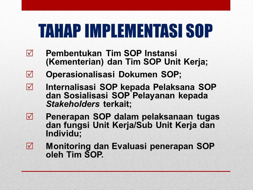 TAHAP IMPLEMENTASI SOP  Pembentukan Tim SOP Instansi (Kementerian) dan Tim SOP Unit Kerja;  Operasionalisasi Dokumen SOP;  Internalisasi SOP kepada