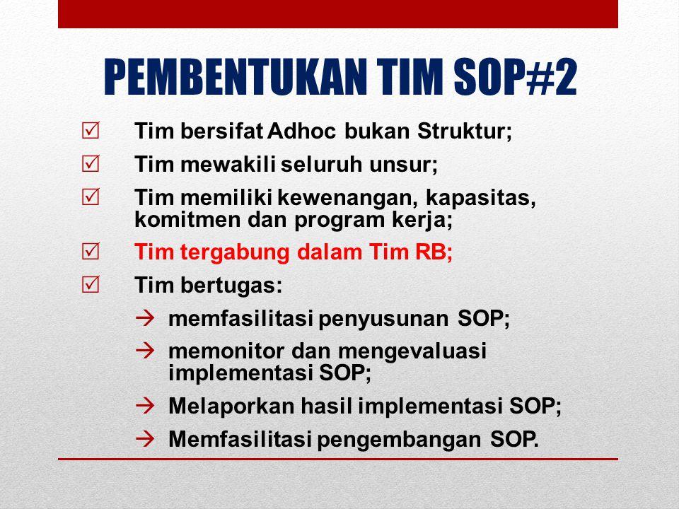 PEMBENTUKAN TIM SOP#2  Tim bersifat Adhoc bukan Struktur;  Tim mewakili seluruh unsur;  Tim memiliki kewenangan, kapasitas, komitmen dan program ke