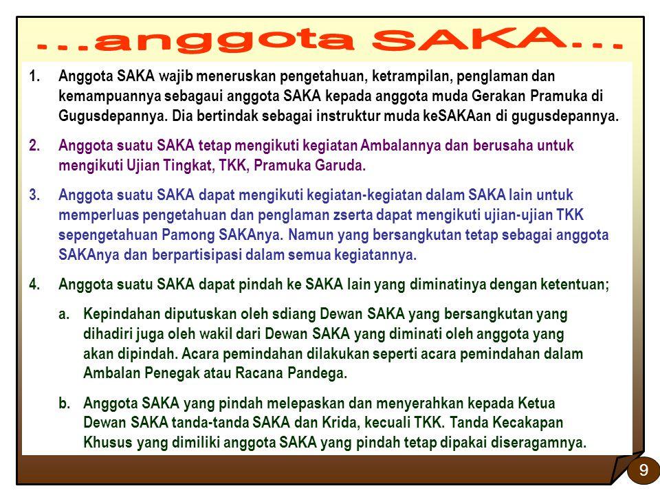 9 1.Anggota SAKA wajib meneruskan pengetahuan, ketrampilan, penglaman dan kemampuannya sebagaui anggota SAKA kepada anggota muda Gerakan Pramuka di Gu