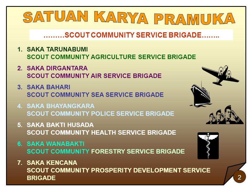 2 ………SCOUT COMMUNITY SERVICE BRIGADE…….. 1.SAKA TARUNABUMI SCOUT COMMUNITY AGRICULTURE SERVICE BRIGADE 2.SAKA DIRGANTARA SCOUT COMMUNITY AIR SERVICE B