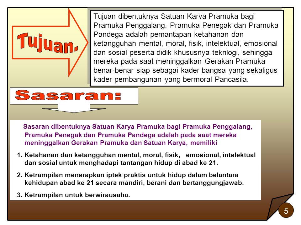 5 Tujuan dibentuknya Satuan Karya Pramuka bagi Pramuka Penggalang, Pramuka Penegak dan Pramuka Pandega adalah pemantapan ketahanan dan ketangguhan men