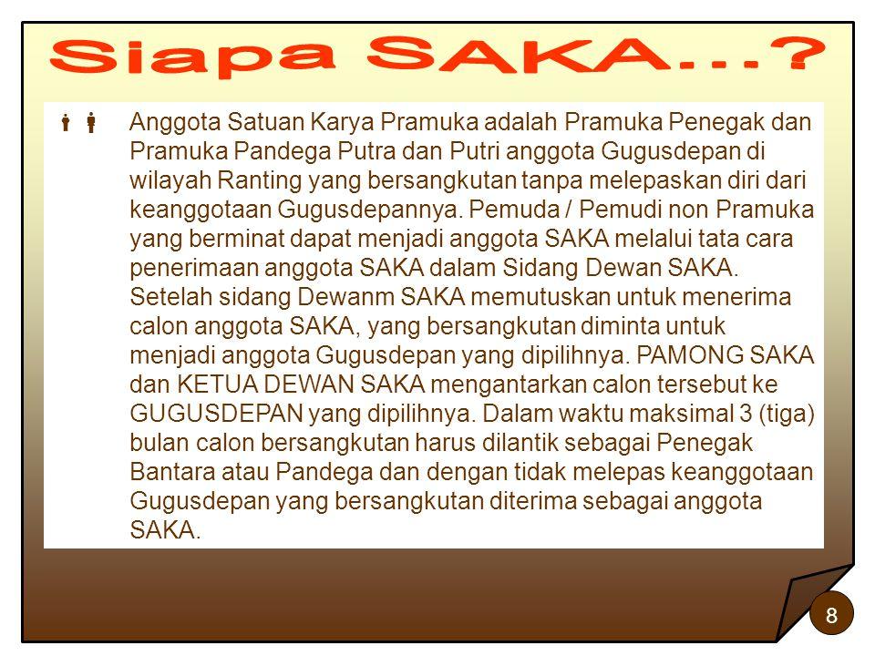 8  Anggota Satuan Karya Pramuka adalah Pramuka Penegak dan Pramuka Pandega Putra dan Putri anggota Gugusdepan di wilayah Ranting yang bersangkutan t