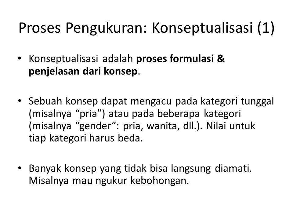Proses Pengukuran: Konseptualisasi (1) Konseptualisasi adalah proses formulasi & penjelasan dari konsep. Sebuah konsep dapat mengacu pada kategori tun