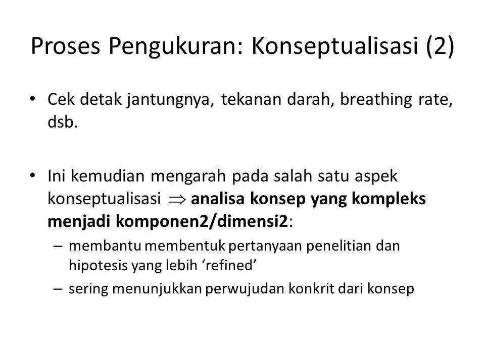 Proses Pengukuran: Konseptualisasi (2) Cek detak jantungnya, tekanan darah, breathing rate, dsb.