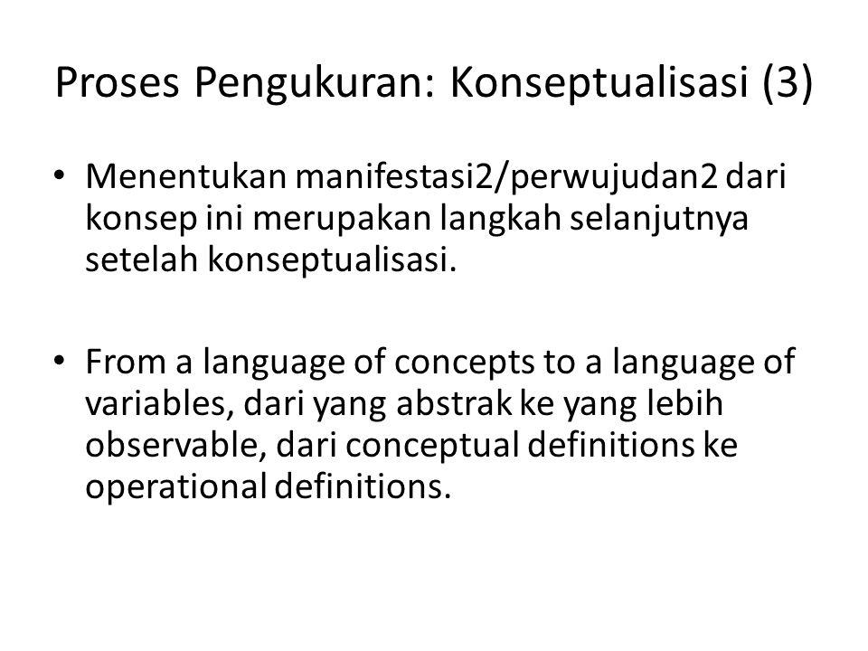 Proses Pengukuran: Konseptualisasi (3) Menentukan manifestasi2/perwujudan2 dari konsep ini merupakan langkah selanjutnya setelah konseptualisasi. From