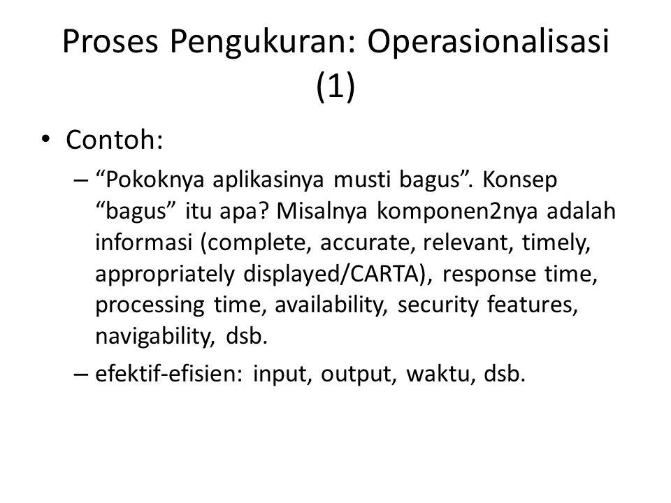 """Proses Pengukuran: Operasionalisasi (1) Contoh: – """"Pokoknya aplikasinya musti bagus"""". Konsep """"bagus"""" itu apa? Misalnya komponen2nya adalah informasi ("""