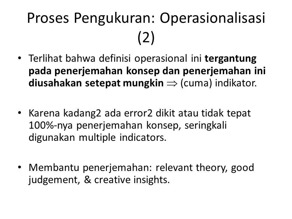 Proses Pengukuran: Operasionalisasi (2) Terlihat bahwa definisi operasional ini tergantung pada penerjemahan konsep dan penerjemahan ini diusahakan setepat mungkin  (cuma) indikator.