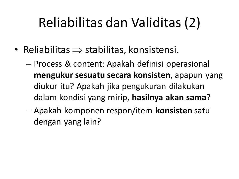 Reliabilitas dan Validitas (2) Reliabilitas  stabilitas, konsistensi. – Process & content: Apakah definisi operasional mengukur sesuatu secara konsis