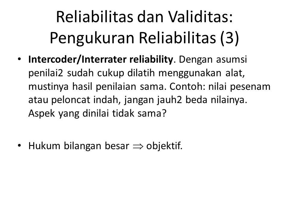 Reliabilitas dan Validitas: Pengukuran Reliabilitas (3) Intercoder/Interrater reliability. Dengan asumsi penilai2 sudah cukup dilatih menggunakan alat