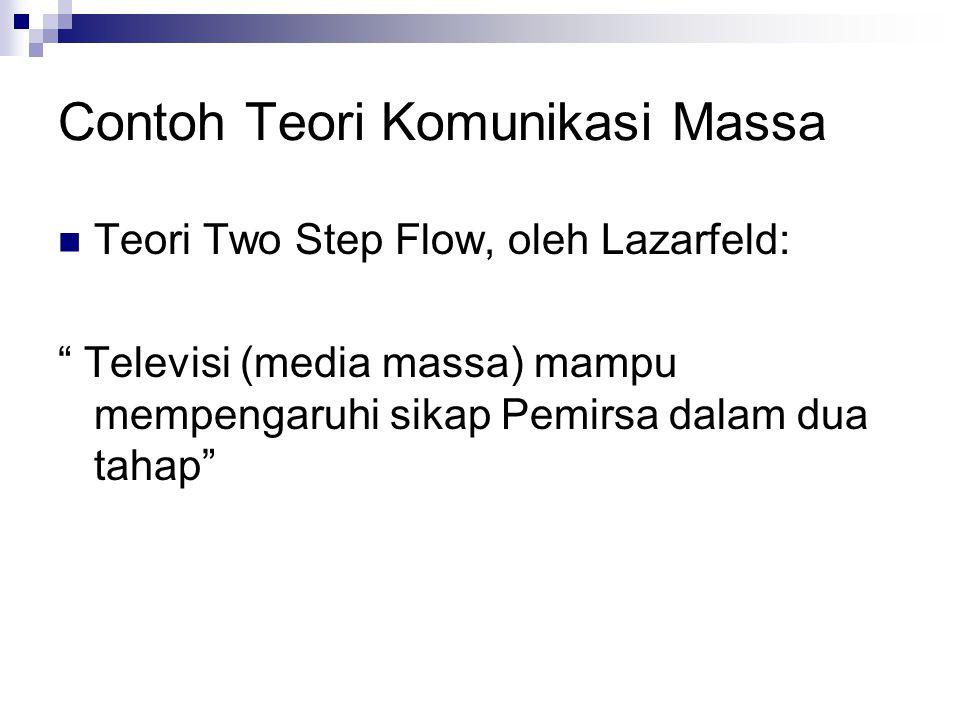 Contoh Teori Komunikasi Massa Teori Two Step Flow, oleh Lazarfeld: Televisi (media massa) mampu mempengaruhi sikap Pemirsa dalam dua tahap