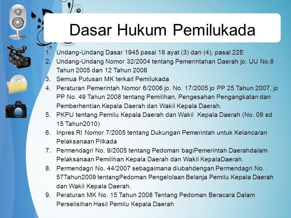 Dasar Hukum Pemilukada 1.Undang-Undang Dasar 1945 pasal 18 ayat (3) dan (4), pasal 22E 2.