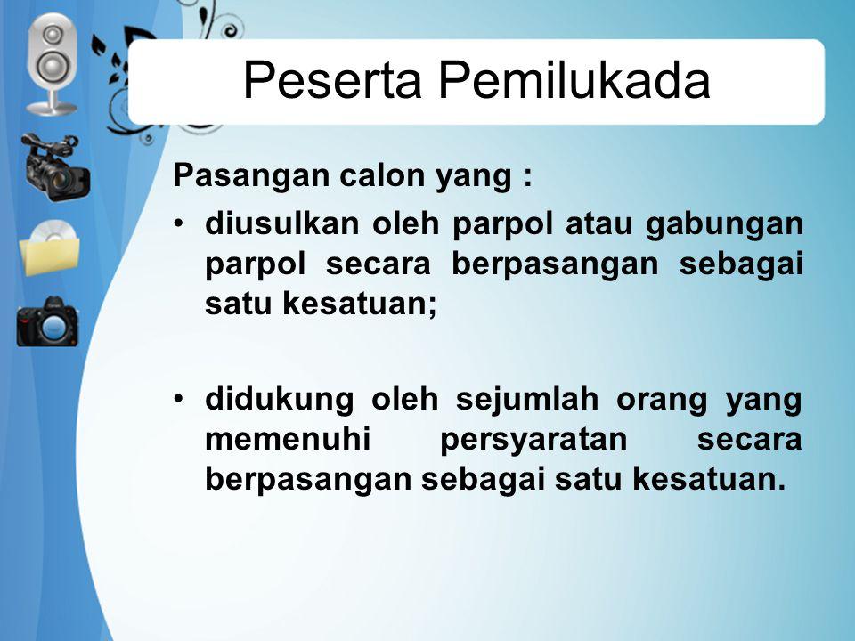 Syarat Parpol Parpol atau gabungan parpol dapat mendaftarkan bakal pasangan calon, jika memenuhi persyaratan: memperoleh kursi pada Pemilu anggota DPRD Provinsi DKI Jakarta tahun 2009 sekurang-kurangnya 15% dari jumlah kursi DPRD Provinsi DKI Jakarta Atau memperoleh suara sah pada Pemilu anggota DPRD DPRD Provinsi DKI Jakarta tahun 2009 sekurang-kurangnya 15% dari jumlah perolehan suara sah dalam Pemilu Anggota DPRD Provinsi DKI Jakarta Parpol atau gabungan parpol hanya dapat mengusulkan 1(satu) bakal pasangan calon.