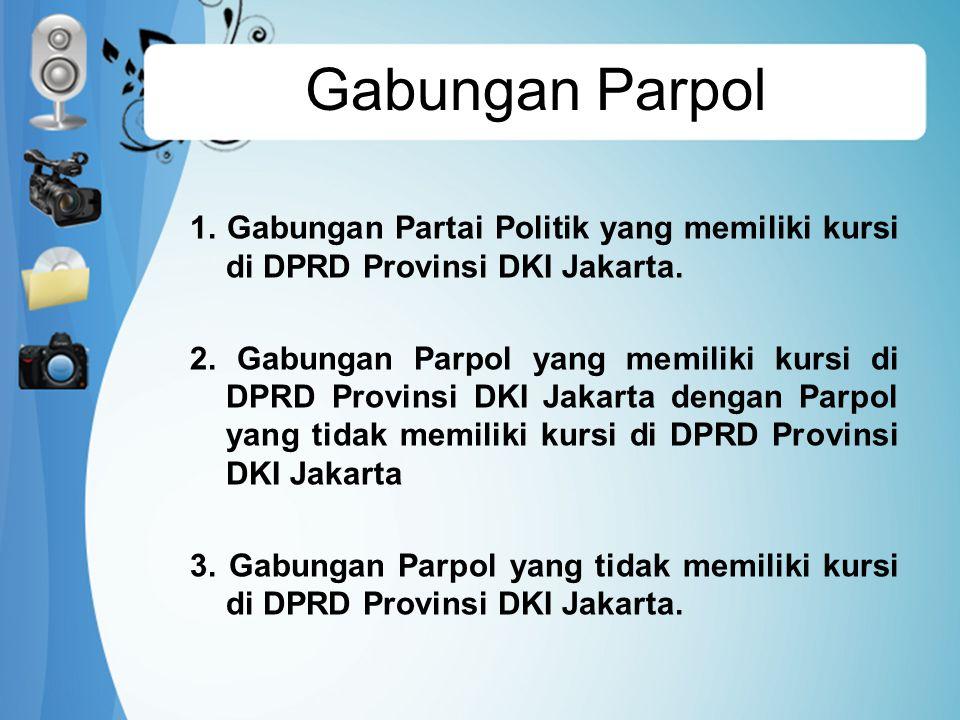 Gabungan Parpol 1.Gabungan Partai Politik yang memiliki kursi di DPRD Provinsi DKI Jakarta.