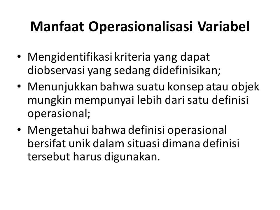 Manfaat Operasionalisasi Variabel Mengidentifikasi kriteria yang dapat diobservasi yang sedang didefinisikan; Menunjukkan bahwa suatu konsep atau obje
