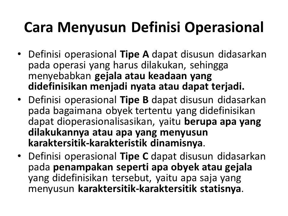 Cara Menyusun Definisi Operasional Definisi operasional Tipe A dapat disusun didasarkan pada operasi yang harus dilakukan, sehingga menyebabkan gejala