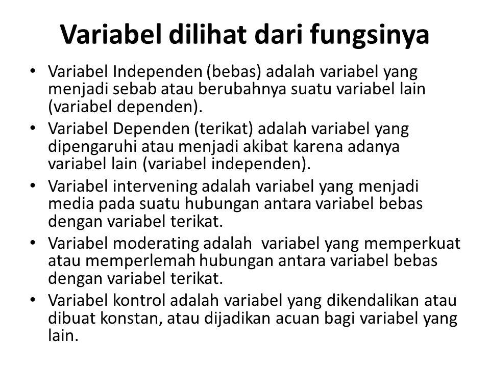 Variabel dilihat dari fungsinya Variabel Independen (bebas) adalah variabel yang menjadi sebab atau berubahnya suatu variabel lain (variabel dependen)