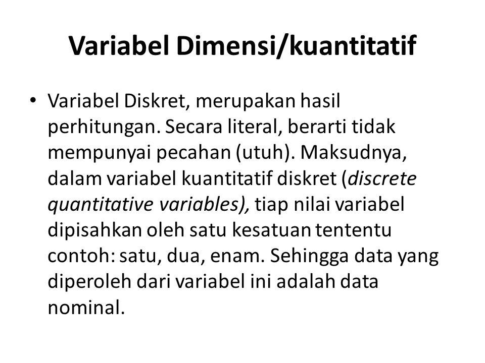 Variabel Dimensi/kuantitatif Variabel Diskret, merupakan hasil perhitungan. Secara literal, berarti tidak mempunyai pecahan (utuh). Maksudnya, dalam v