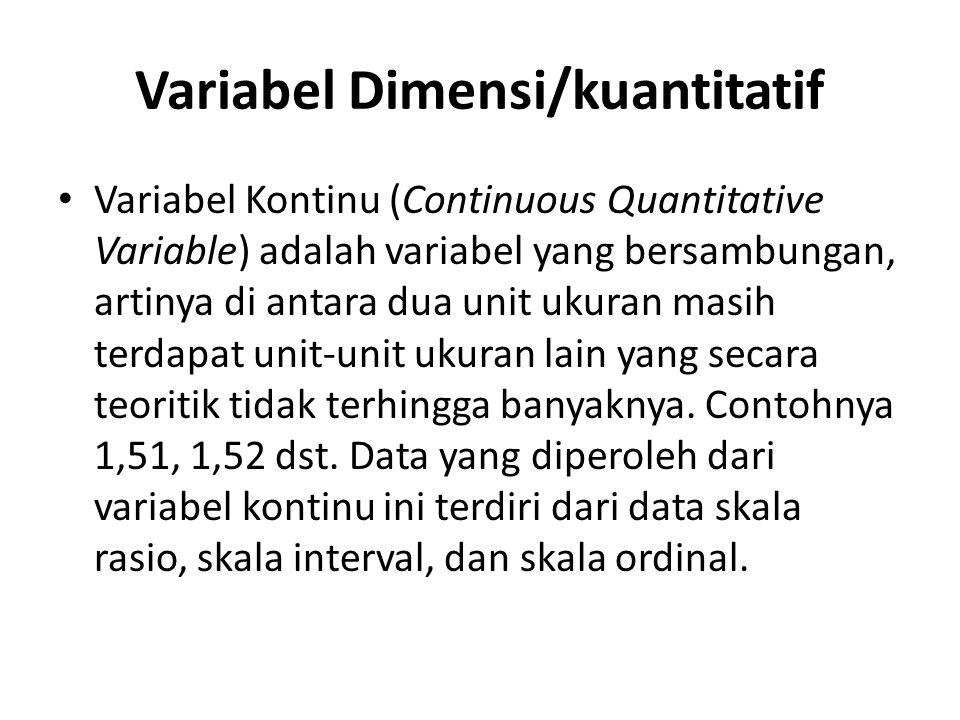 Variabel Dimensi/kuantitatif Variabel Kontinu (Continuous Quantitative Variable) adalah variabel yang bersambungan, artinya di antara dua unit ukuran