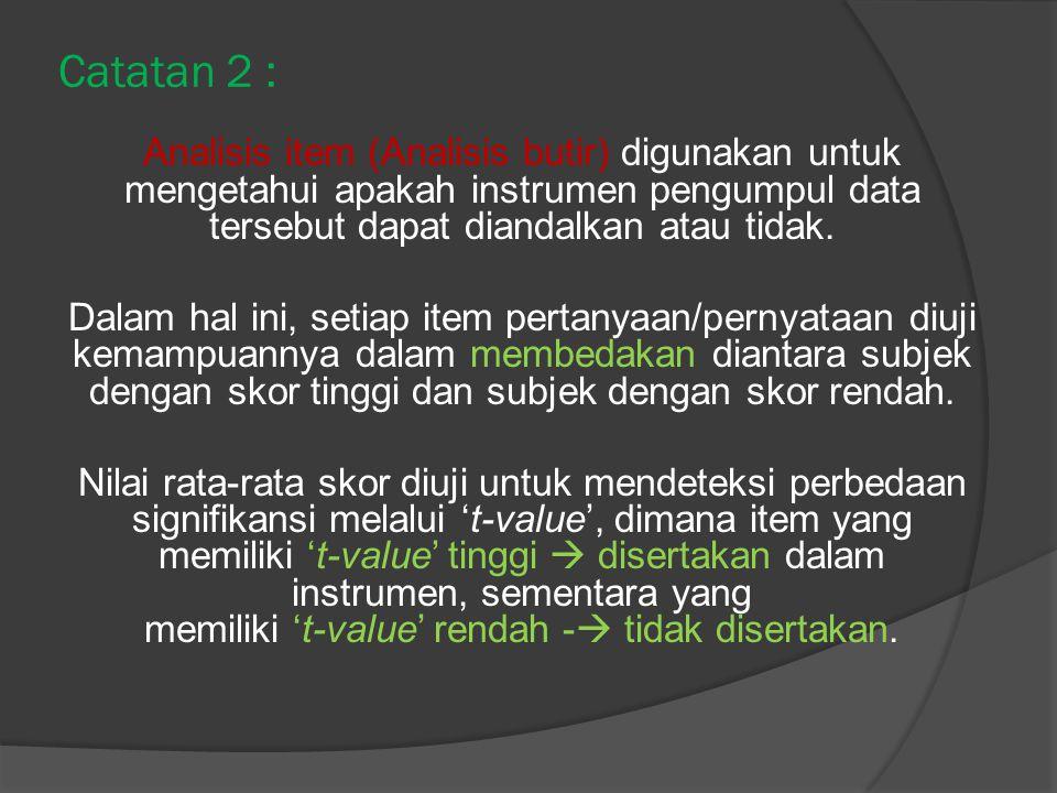 Catatan 2 : Analisis item (Analisis butir) digunakan untuk mengetahui apakah instrumen pengumpul data tersebut dapat diandalkan atau tidak.