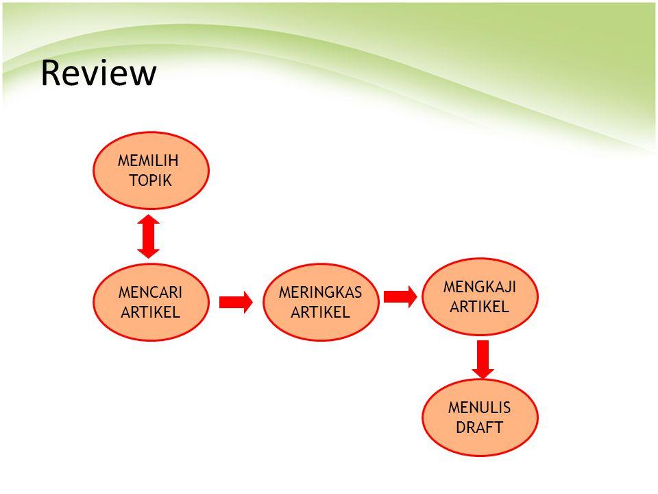 Review MEMILIH TOPIK MENCARI ARTIKEL MERINGKAS ARTIKEL MENGKAJI ARTIKEL MENULIS DRAFT