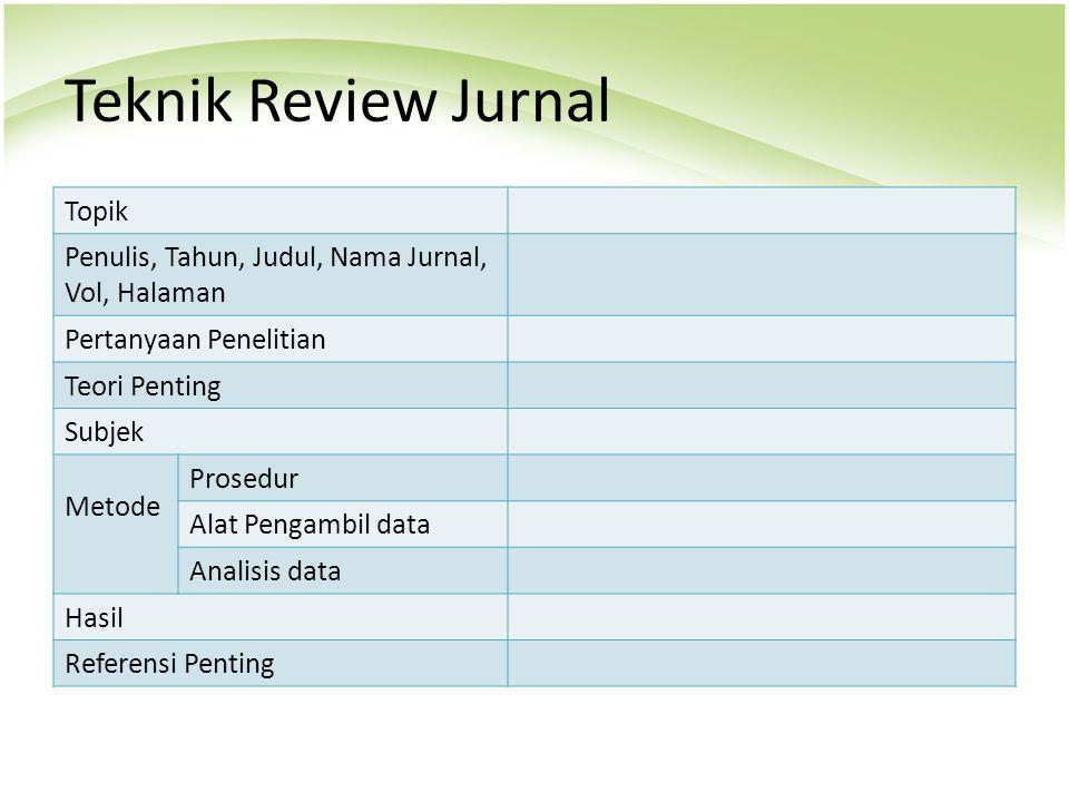 Teknik Review Jurnal Topik Penulis, Tahun, Judul, Nama Jurnal, Vol, Halaman Pertanyaan Penelitian Teori Penting Subjek Metode Prosedur Alat Pengambil