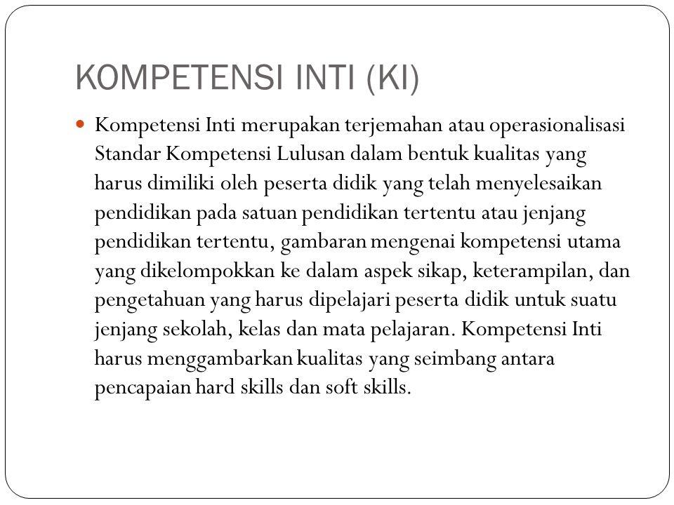 KOMPETENSI INTI (KI) Kompetensi Inti merupakan terjemahan atau operasionalisasi Standar Kompetensi Lulusan dalam bentuk kualitas yang harus dimiliki o