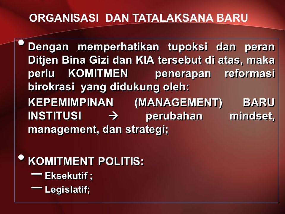 Dengan memperhatikan tupoksi dan peran Ditjen Bina Gizi dan KIA tersebut di atas, maka perlu KOMITMEN penerapan reformasi birokrasi yang didukung oleh