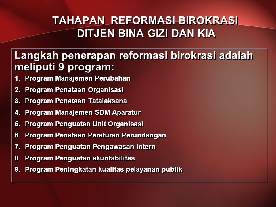 TAHAPAN REFORMASI BIROKRASI DITJEN BINA GIZI DAN KIA Langkah penerapan reformasi birokrasi adalah meliputi 9 program: 1.Program Manajemen Perubahan 2.