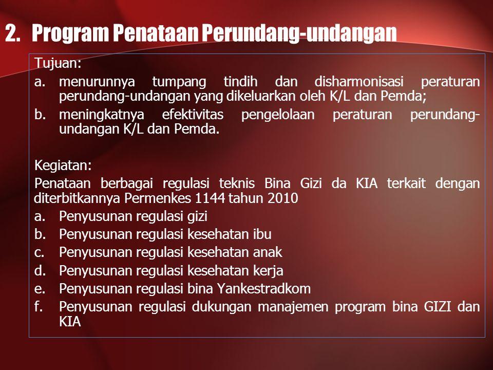 2. Program Penataan Perundang-undangan Tujuan: a.menurunnya tumpang tindih dan disharmonisasi peraturan perundang-undangan yang dikeluarkan oleh K/L d