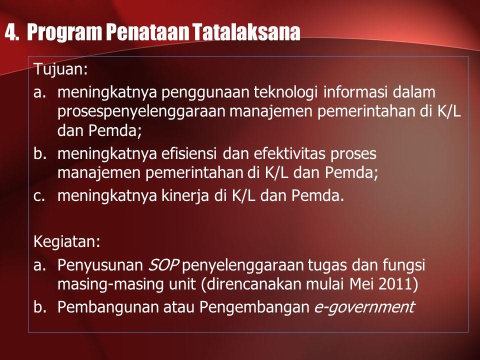 4. Program Penataan Tatalaksana Tujuan: a.meningkatnya penggunaan teknologi informasi dalam prosespenyelenggaraan manajemen pemerintahan di K/L dan Pe