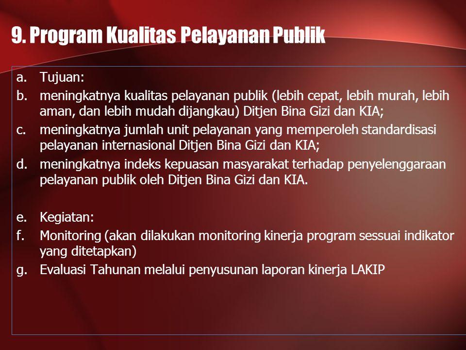 9. Program Kualitas Pelayanan Publik a.Tujuan: b.meningkatnya kualitas pelayanan publik (lebih cepat, lebih murah, lebih aman, dan lebih mudah dijangk