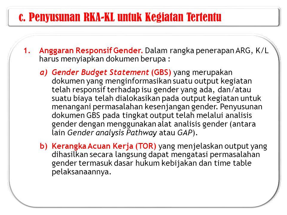 c.Penyusunan RKA-KL untuk Kegiatan Tertentu 1.Anggaran Responsif Gender.