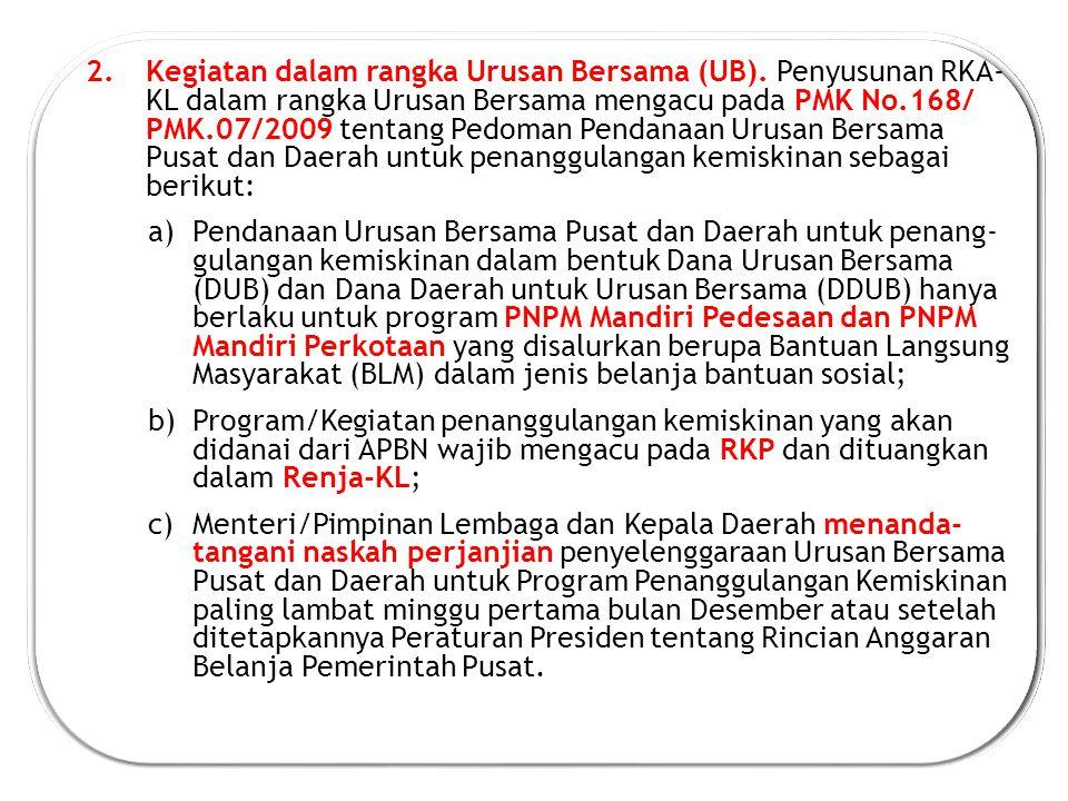 2.Kegiatan dalam rangka Urusan Bersama (UB).