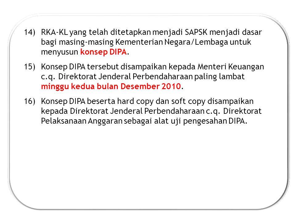 14)RKA-KL yang telah ditetapkan menjadi SAPSK menjadi dasar bagi masing-masing Kementerian Negara/Lembaga untuk menyusun konsep DIPA.