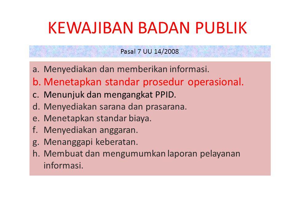 KEWAJIBAN BADAN PUBLIK a.Menyediakan dan memberikan informasi.