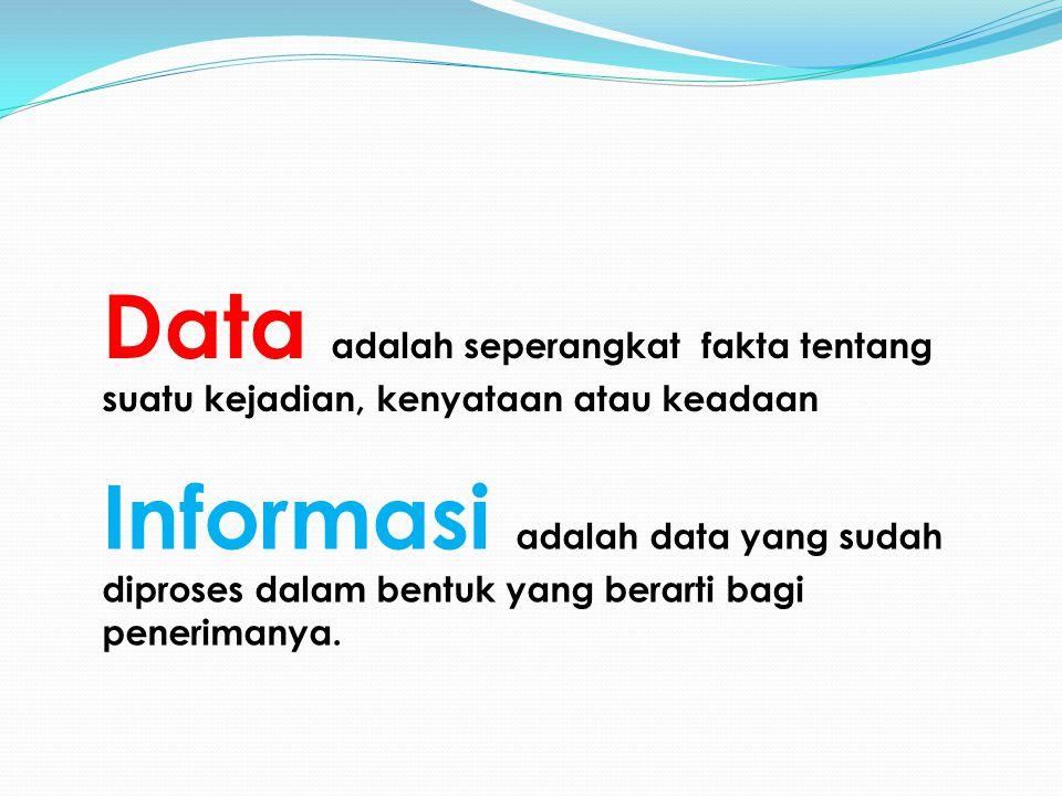 Data adalah seperangkat fakta tentang suatu kejadian, kenyataan atau keadaan Informasi adalah data yang sudah diproses dalam bentuk yang berarti bagi penerimanya.