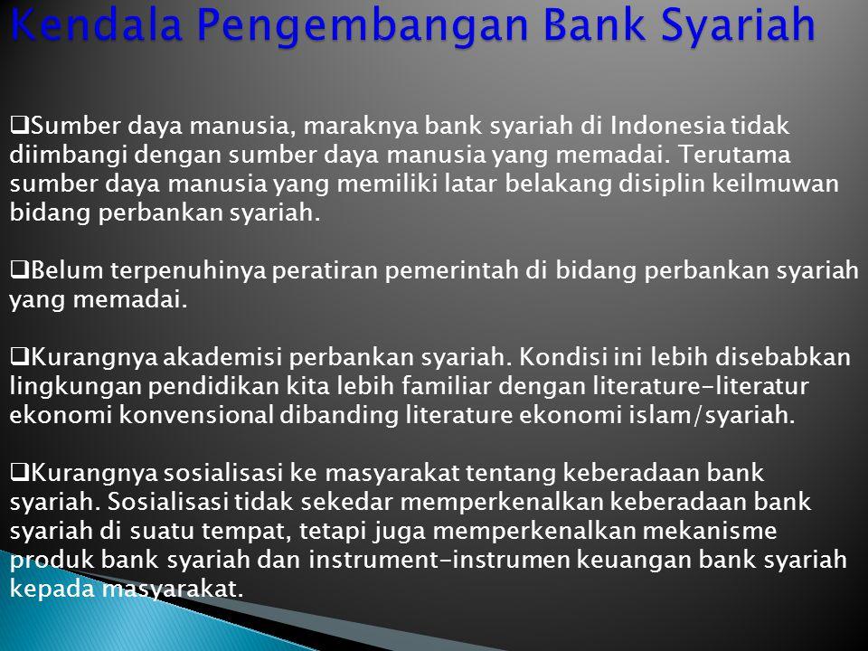  Sumber daya manusia, maraknya bank syariah di Indonesia tidak diimbangi dengan sumber daya manusia yang memadai. Terutama sumber daya manusia yang m