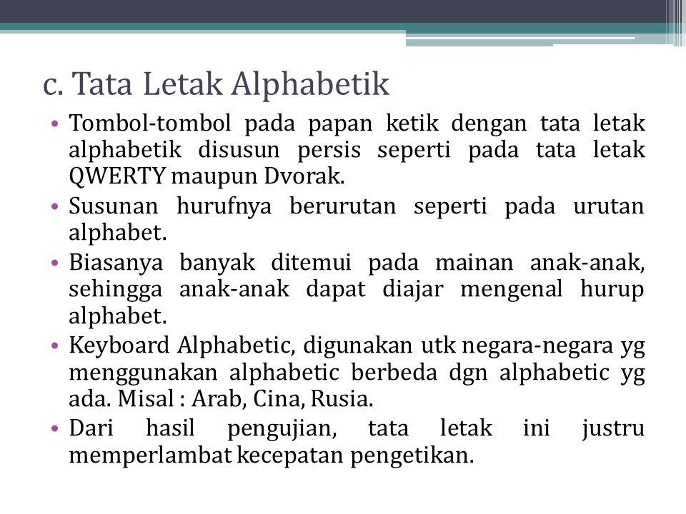 c. Tata Letak Alphabetik Tombol-tombol pada papan ketik dengan tata letak alphabetik disusun persis seperti pada tata letak QWERTY maupun Dvorak. Susu