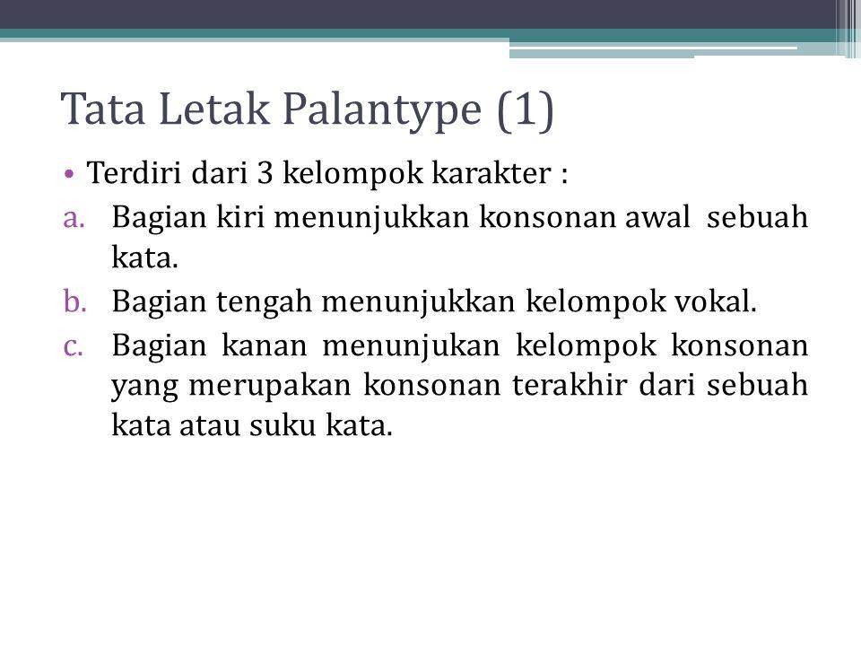 Tata Letak Palantype (1) Terdiri dari 3 kelompok karakter : a.Bagian kiri menunjukkan konsonan awal sebuah kata.