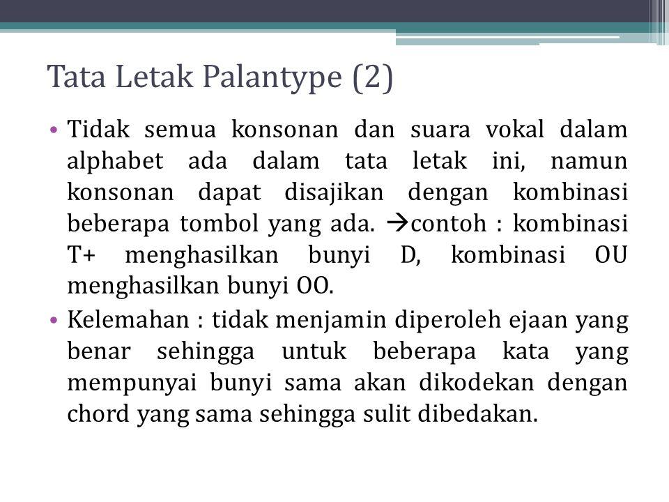 Tata Letak Palantype (2) Tidak semua konsonan dan suara vokal dalam alphabet ada dalam tata letak ini, namun konsonan dapat disajikan dengan kombinasi beberapa tombol yang ada.
