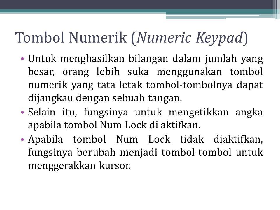 Tombol Numerik (Numeric Keypad) Untuk menghasilkan bilangan dalam jumlah yang besar, orang lebih suka menggunakan tombol numerik yang tata letak tombol-tombolnya dapat dijangkau dengan sebuah tangan.
