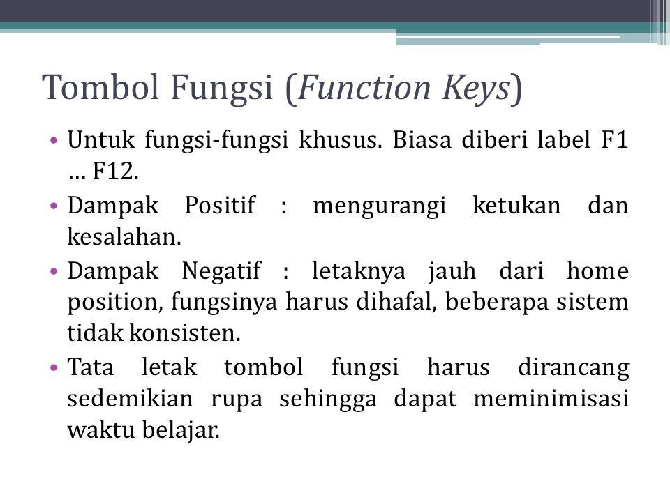 Tombol Fungsi (Function Keys) Untuk fungsi-fungsi khusus. Biasa diberi label F1 … F12. Dampak Positif : mengurangi ketukan dan kesalahan. Dampak Negat