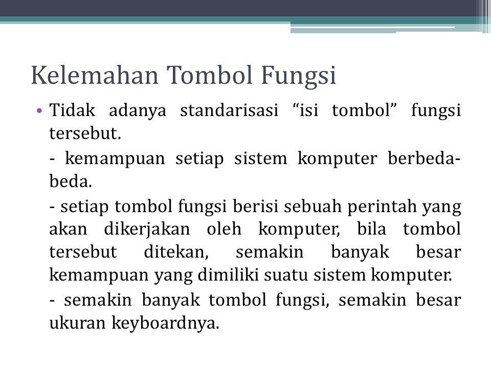 """Kelemahan Tombol Fungsi Tidak adanya standarisasi """"isi tombol"""" fungsi tersebut. - kemampuan setiap sistem komputer berbeda- beda. - setiap tombol fung"""