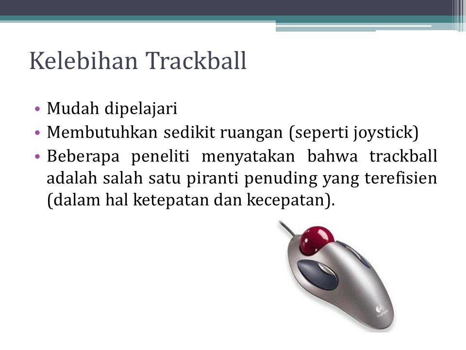 Kelebihan Trackball Mudah dipelajari Membutuhkan sedikit ruangan (seperti joystick) Beberapa peneliti menyatakan bahwa trackball adalah salah satu piranti penuding yang terefisien (dalam hal ketepatan dan kecepatan).