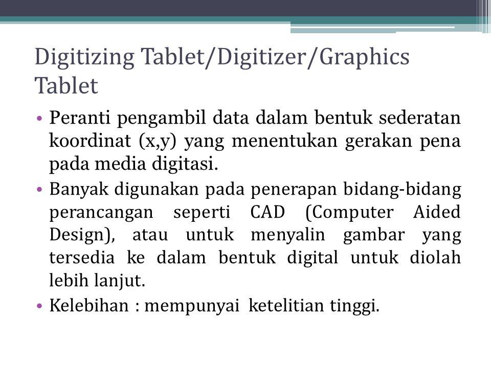 Digitizing Tablet/Digitizer/Graphics Tablet Peranti pengambil data dalam bentuk sederatan koordinat (x,y) yang menentukan gerakan pena pada media digi